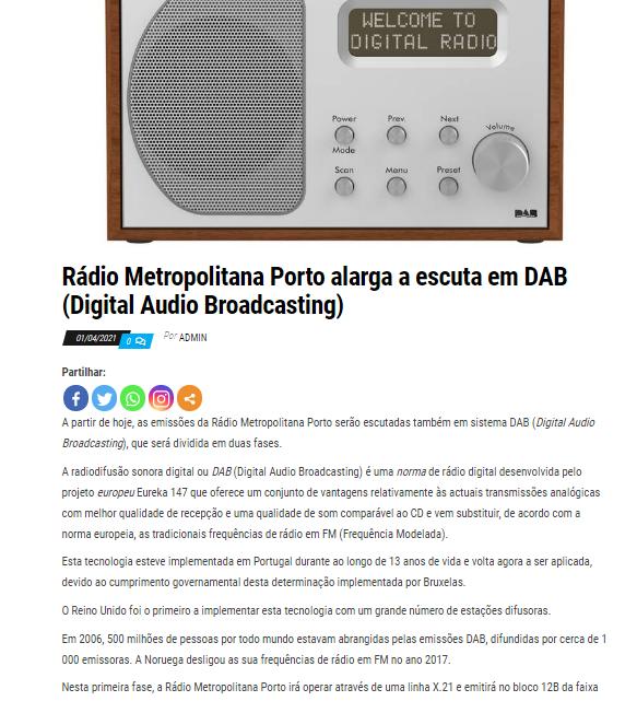 "Escuta da RMP em Digital Audio Broadcasting foi ""mentira de 1 de abril"""